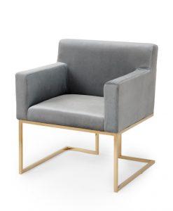 Lounge GråGuld Sammet Stol