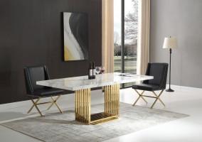 athena-guld-matbord-inkl-madison-svart-stol
