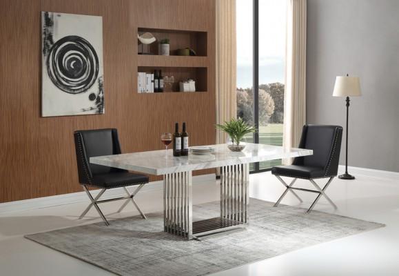 athena-silver-matbord-inkl-madison-svart-stol