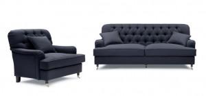 Howard Style 3,5 + Fåtölj Mörkgrå- Tygsoffa