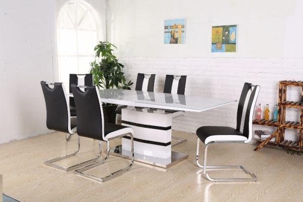 Madrid Matbord + 6 stolar Koeln SvartVit