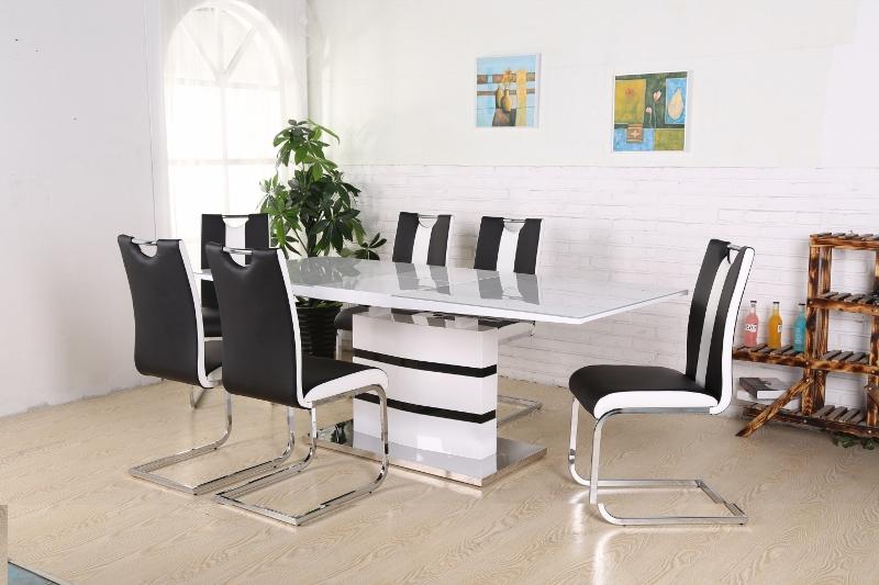 Prima Madrid Matbord + 6 stolar Koeln Svart/Vit - Kungsmöbler OX-25