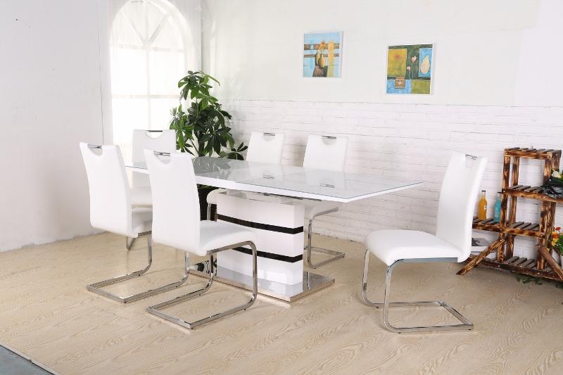 Splitter nya Madrid Matbord + 6 stolar Koeln Vit - Kungsmöbler SI-36