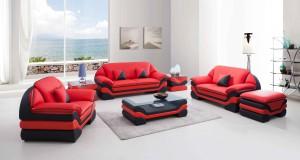 Miami Röd:Svart - Skinnsoffa