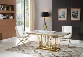 thema-guld-matbord-inkl-madison-vit-stol