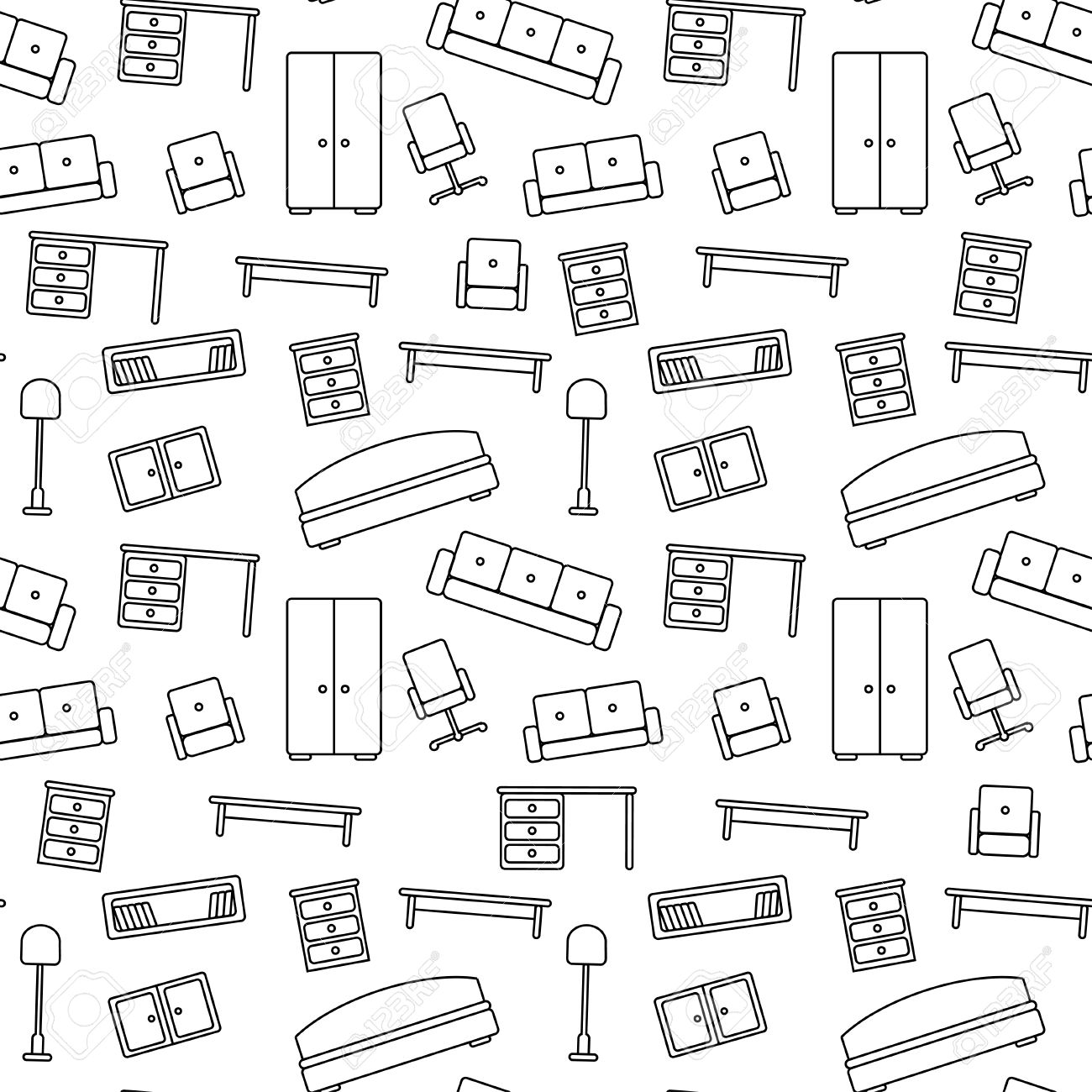 Seamless Pattern Of Furniture Beautiful Background Vector